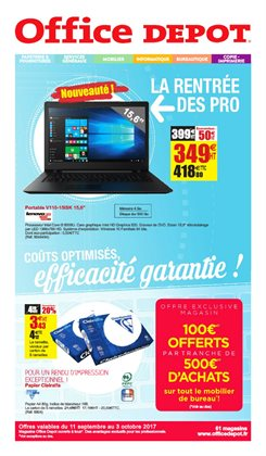 Promos de Ordinateur portable dans le prospectus de Office Depot à Paris