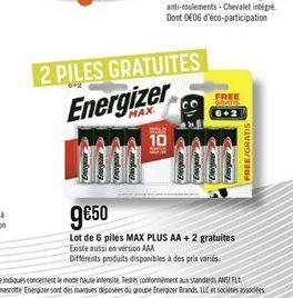 Lot de 6 piles Max Plus AA + 2 gratuites offre à