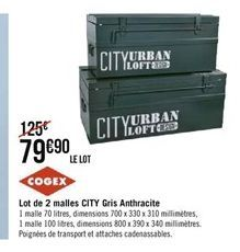 Lot de 2 malles City gris anthracite offre à