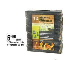 Lot de 12 büchettes bois compressé 20cm offre à