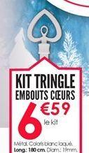Kit tringle embouts coeurs  offre à 6.59€