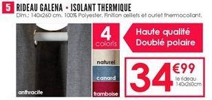 Rideau galena - isolant thermique offre à 34.99€