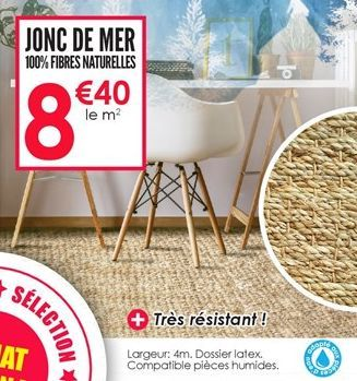 Jonc de mer 100% fibres naturelles offre à 8.4€
