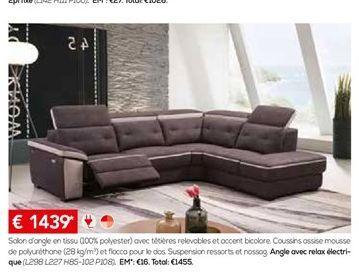 Canapé d'angle offre à 1439€