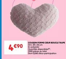 Coussin forme coeur boucle taupe offre à 4.9€