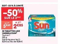 30 tablettes lave vaisselle sun offre à 2.85€