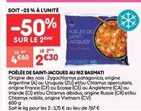 Poêle de saint-jacques au riz basmati offre à 2.3€