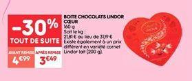 Boite chocolats  lindor coeur offre à 3.49€