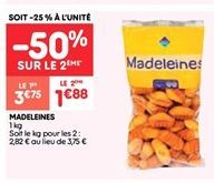 Madeleines offre à 1.88€