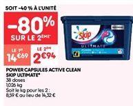Lessive en capsules active clean Skip ultimate offre à 2.94€