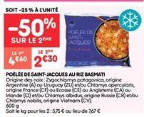 Poêlee de saint-jacques au riz basmati offre à 2.3€