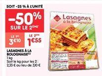 Lasagne bolognaise offre à 1.55€