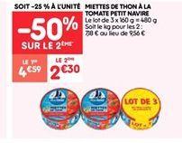 Miettes de thon à la tomate Petit navire offre à 2.29€