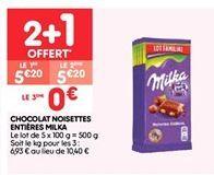 Chocolat noisettes entieres milka offre à 3.47€