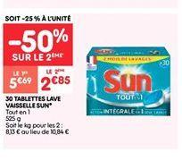 30 tablettes lave vaisselle sun offre à 5.69€