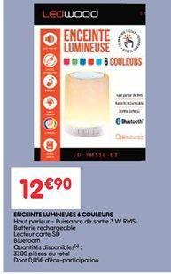 Enceinte lumineuse 6 couleurs offre à 12.9€