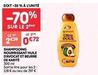 Shampooing nourrissant huile d'avocat et beurre de karite offre à 2.39€