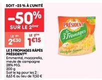 Le 3 fromages rapes president offre à 1.15€