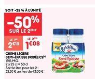 Crème liquide semi-epaisse Bridélice offre à 1.07€
