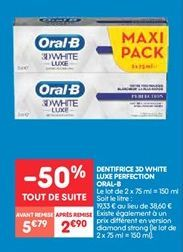 Dentifrice 3d white luxe perfection Oral-B offre à 2.9€
