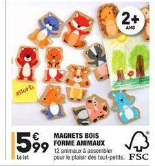 Magnets bois forme animaux offre à 5.99€