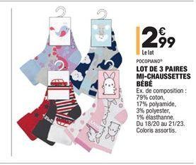 Lot de 3 paires mi-chaussettes bébé offre à 2.99€
