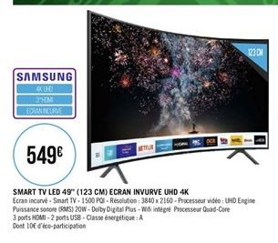 """Smart TV led 49"""" Ecran Invurne UHD 4K offre à"""