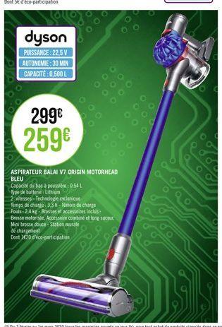 Aspirateur balai v7 origin motorhead bleu Dyson offre à