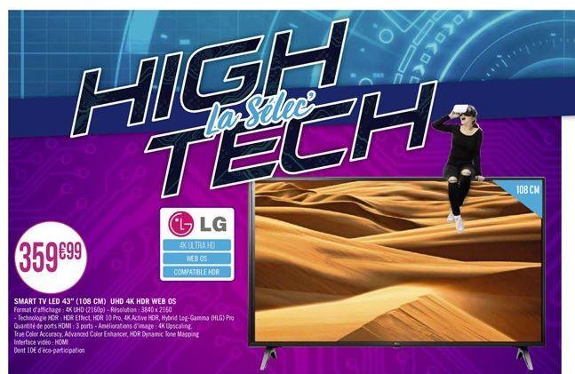 """Smart TV led 43"""" UHD 4K WEB OS offre à"""