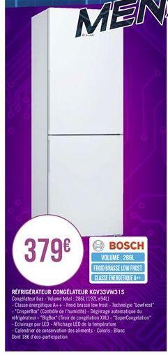 Réfrigérateur congélateur  offre à