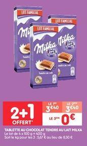 Tablette au chocolat tendre au lait milka offre à 3.4€