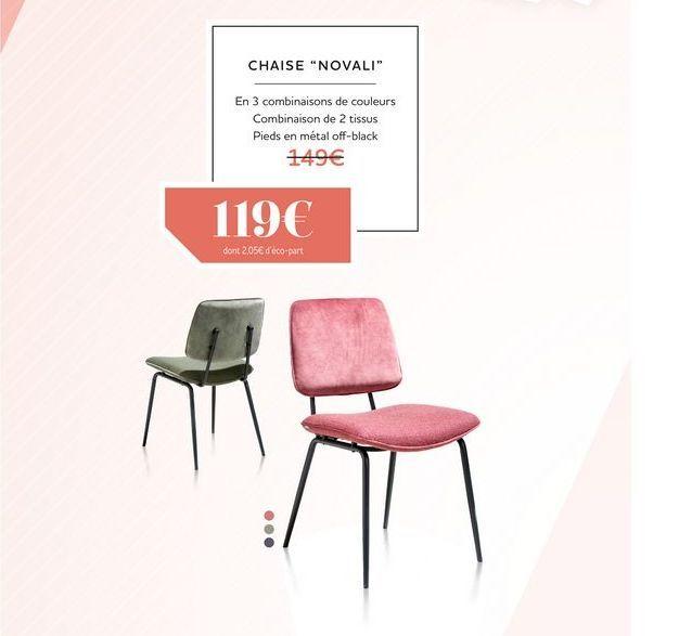 Chaise NOVALI offre à 119€
