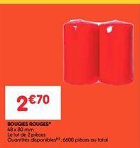 Bougies rouges offre à 2.7€