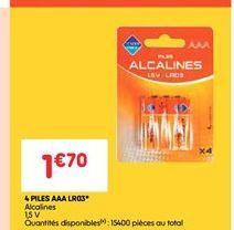 4 piles aaa lr03 offre à 1.7€