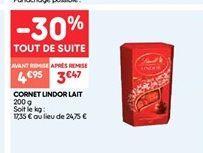 Cornet lindor lait offre à 4.95€