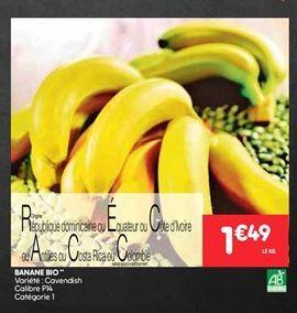 Banane bio offre à 1.49€