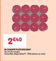 24 chauffe plats rouges offre à 2.4€