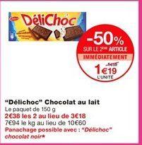 """""""Délichoc"""" chocolat au lait offre à 1.59€"""