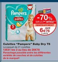 "Culottes ""Pampers"" baby dry t5 offre à 10.39€"