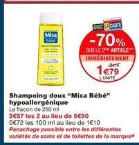 """Shampoing doux """"Mixa Bebé"""" hypoallergénique offre à 2.75€"""