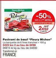"""Pastrami de boeuf """"Fleury Michon"""" offre à 3.49€"""