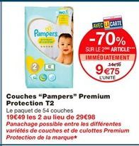 "Couches ""Pampers"" premium protection T2 offre à"