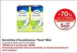 """Serviettes d'incontinence """"Tena"""" mini offre à 7.99€"""