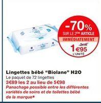 """Lingettes bébé """"biolane"""" H2O offre à 2.99€"""