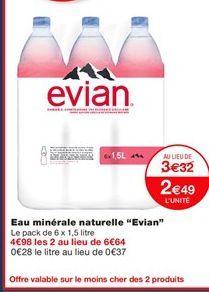 """Eau minérale naturelle """"Evian"""" offre à 3.32€"""