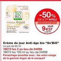 """Crème de jour anti-âge bio """"So'Bio"""" offre à 12.49€"""