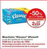"Mouchoirs ""Kleenex"" ultrasoft offre à 3.99€"