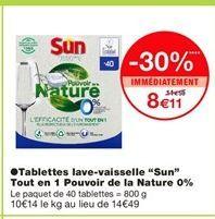 """Tablettes lave-vaisselle """"Sun"""" tout en 1 pouvoir de la nature 0% offre à"""