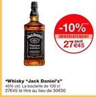 """Whisky """"Jack Daniel's"""" offre à 30.5€"""
