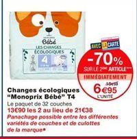 """Changes écologiques """"Monoprix Bébé"""" T4 offre à 10.69€"""